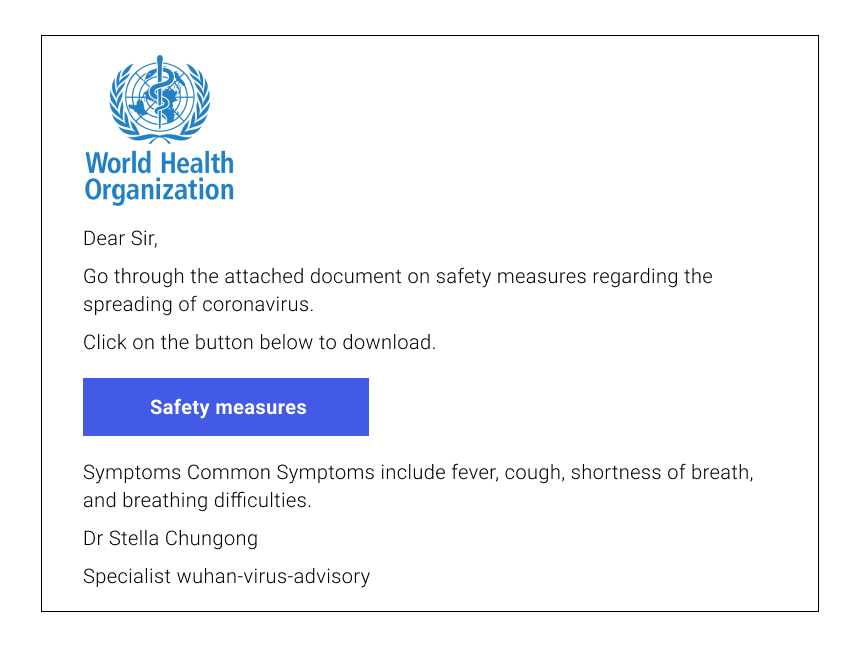 Coronavirus Phishing Email Example #4