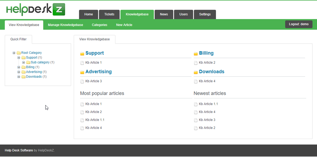 Helpdesk Z open source ticketing software - screenshot