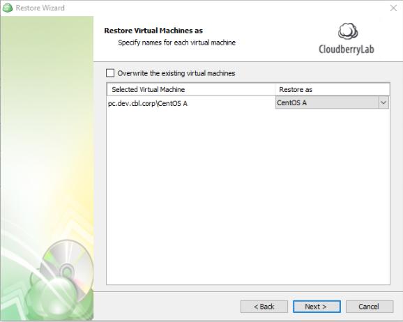 Restore to VM details