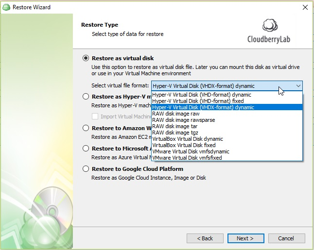 Restore Hyper-V Virtual Machine as a Virtual Disk