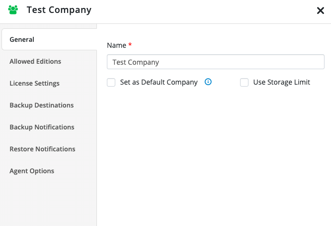 Companies and Users tab