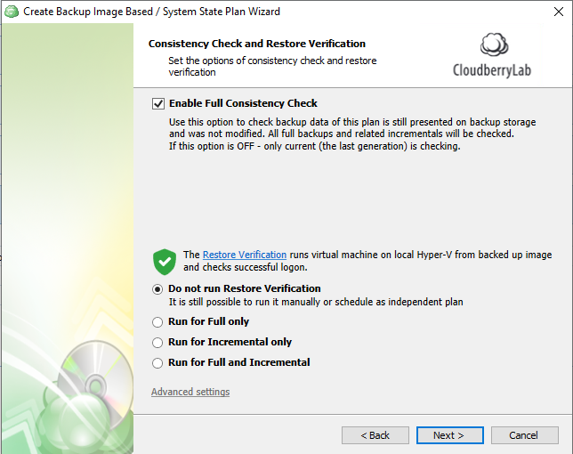 Restore verification