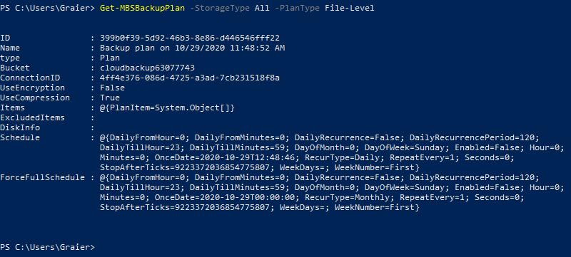 Getting backup plan name using MSP 360 Managed Backup Service