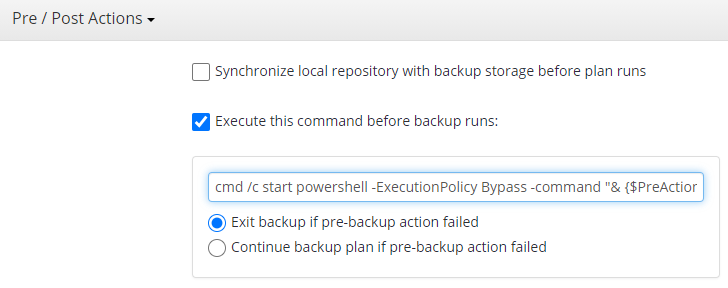 Adding a Script to a Plan a Plan in Managed Backup Service