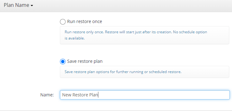 Remote Deploy in Managed Backup Service: Naming a Plan