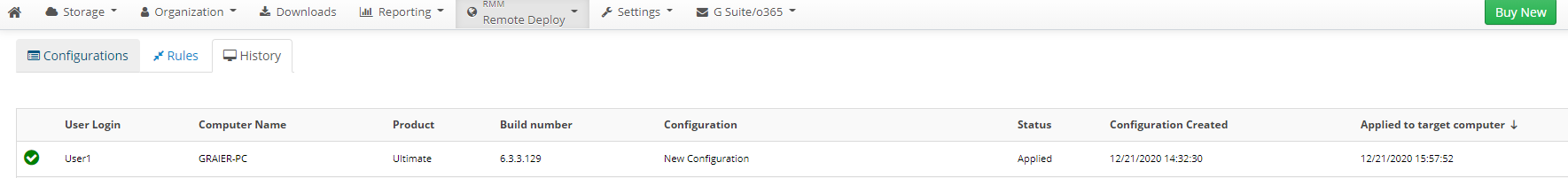 Remote Deploy in Managed Backup Service: Configuration Applied