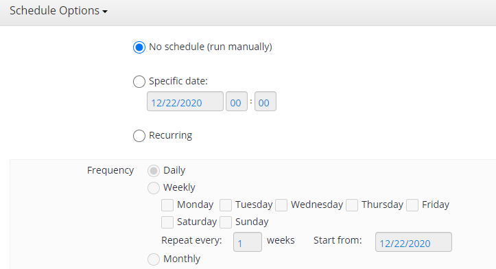 Remote Deploy in Managed Backup Service: Schedule Options