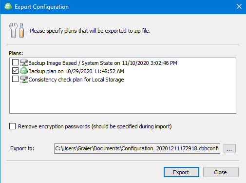 Remote Deploy in Managed Backup Service: Exporting a Configuration