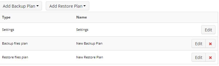 Remote Deploy in Managed Backup Service: Plans List