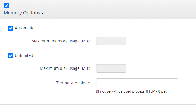 Remote Deploy in Managed Backup Service: Memory Options