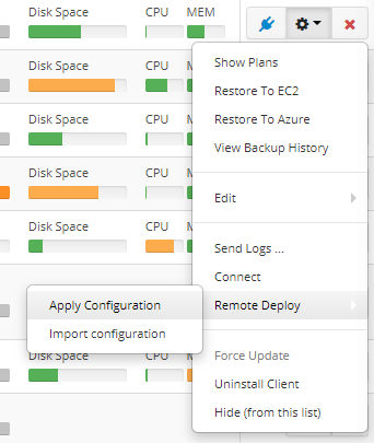 Remote Deploy in Managed Backup Service: Applying a Configuration Manually