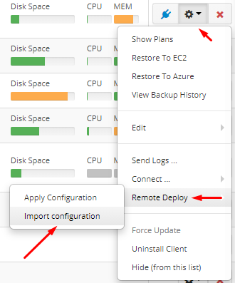 Remote Deploy in Managed Backup Service: Retrieving a Configuration