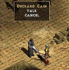 A screenshot from Diablo II: Deckard Cain