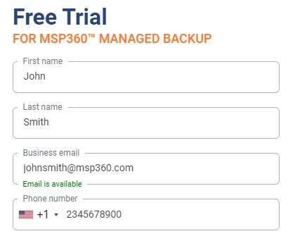 Signing Up for a Free Trial on MSP360 Managed Backup Service Website