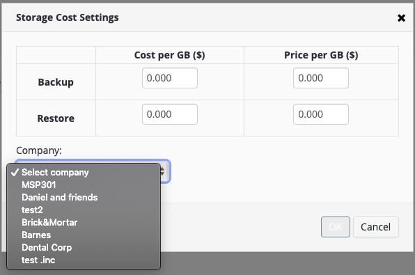 custom storage price by company