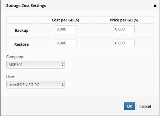 custom storage price by user