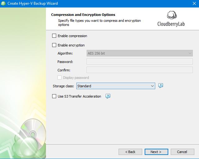 Hyper-V Backup: Compression and Encryption Options