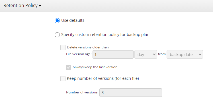 Hyper-V Backup: Retention Policy