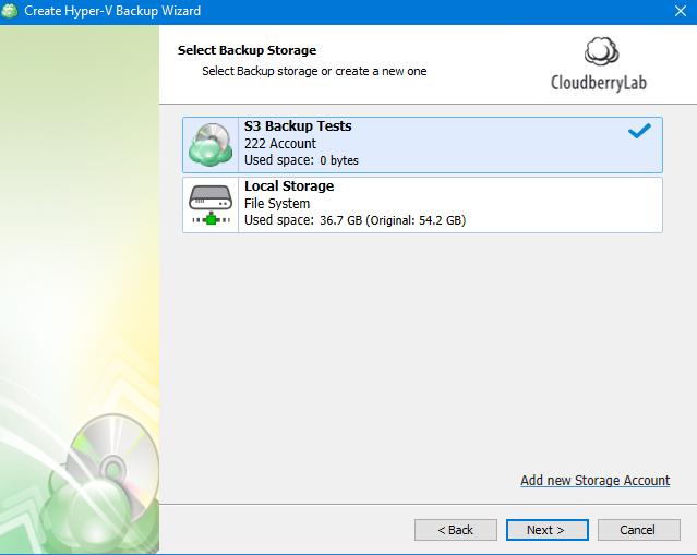 Hyper-V Backup: Choosing a Storage