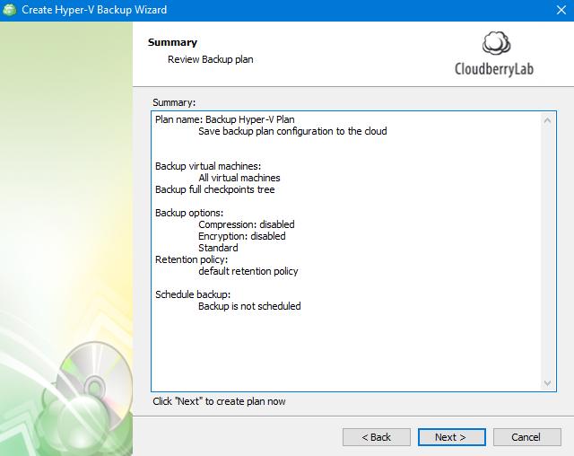 Hyper-V Backup: Plan Summary