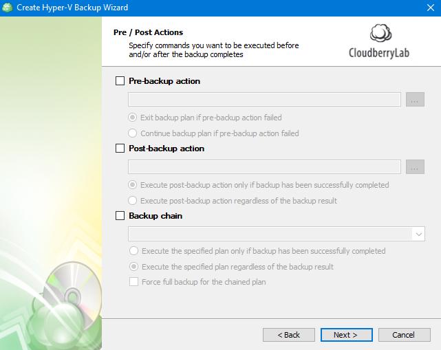 Hyper-V Backup: Pre-/Post-Actions