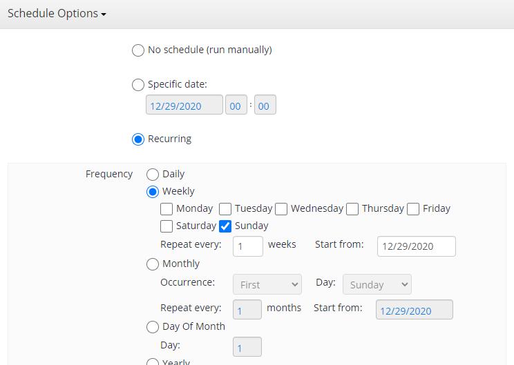 Hyper-V Backup: Schedule Options