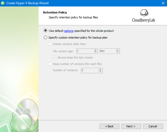 Hyper-V Backup: Configuring Retention Policy