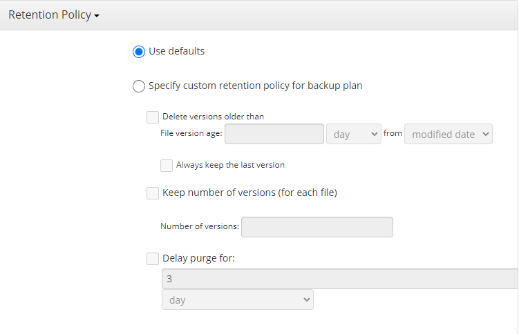 Setting Up Retention Policy in MSP360 Managed Backup Web Console