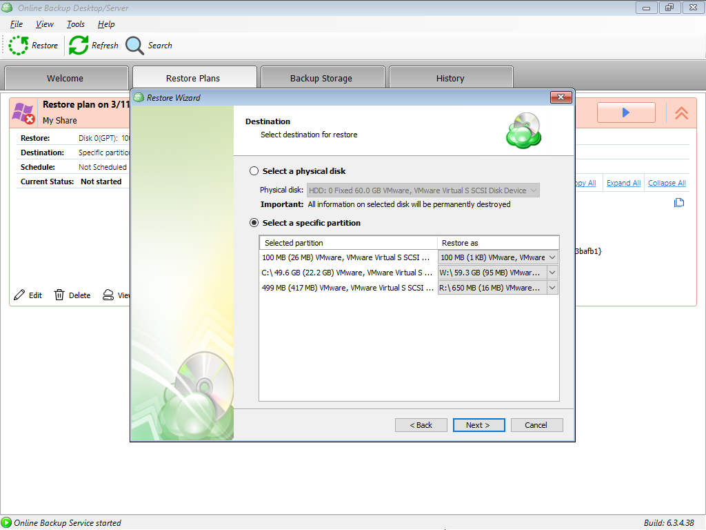 Selecting Specific Partitions for BIOS Environment in MSP360 Managed Backup