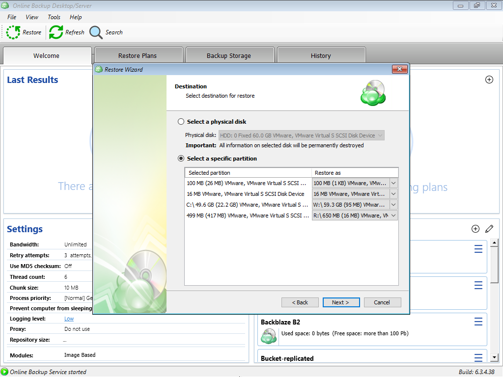 Selecting Specific Partitions for UEFI Environment in MSP360 Managed Backup