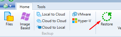 Launching the Restore Wizard in MSP360 Managed Backup Agent