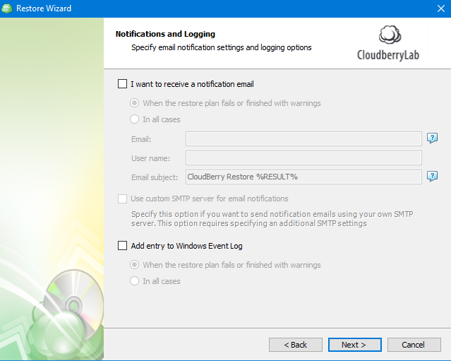Notification and Logging Options in MSP360 Managed Backup Service Agent