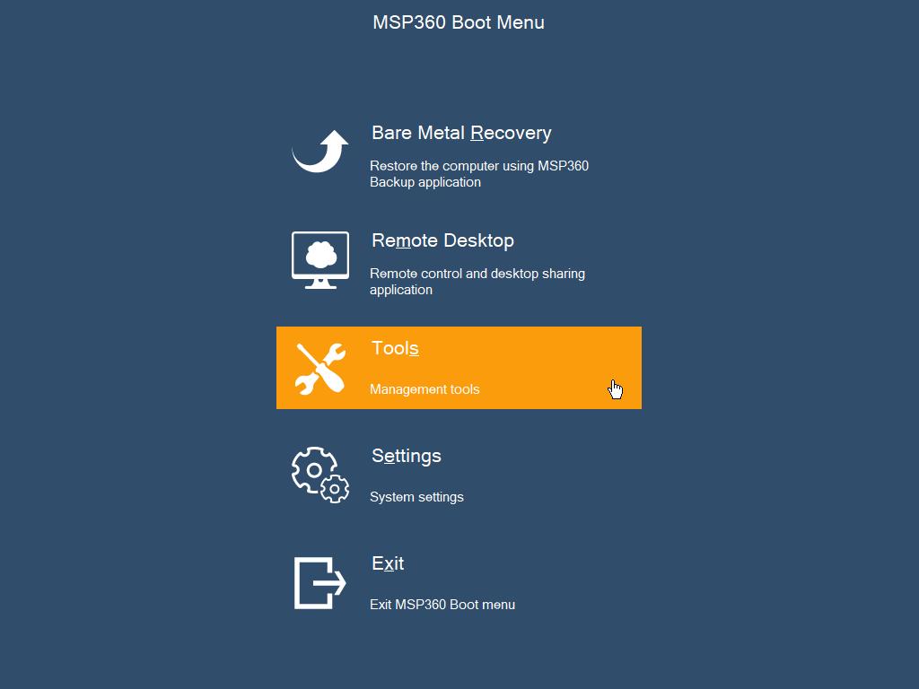 MSP360 Boot Menu – Tools