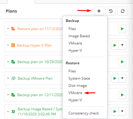 Choosing VMware Restore in MSP360 Managed Backup Console