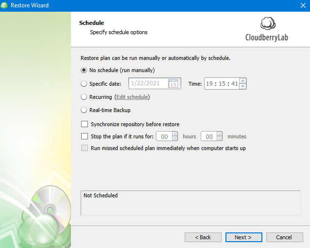 Schedule Options in MSP360 Managed Backup Service Agent