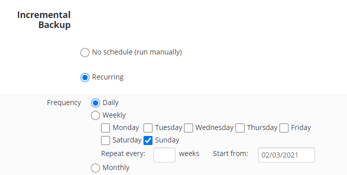 Incremental Backup Schedule Options in MSP360 Managed Backup Web Console