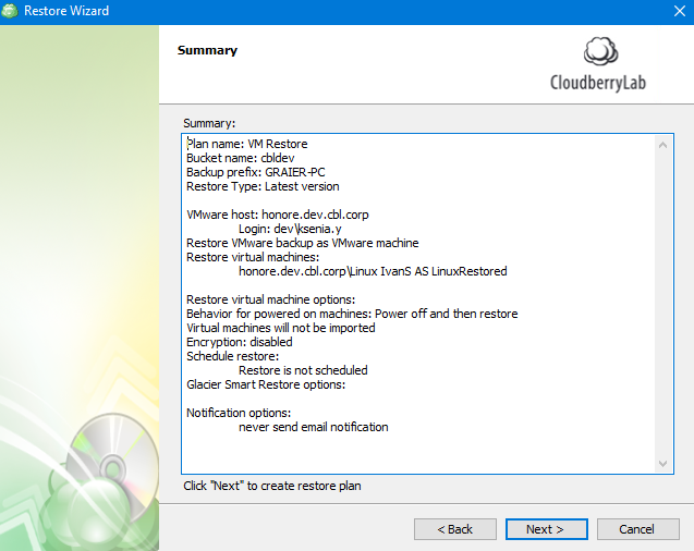 Plan Summary in MSP360 Managed Backup Service Agent