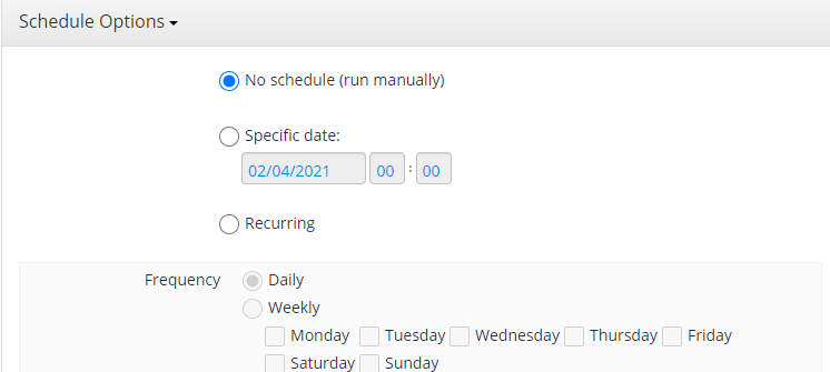 Schedule Options in MSP360 Managed Backup Sevice