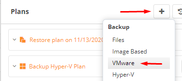 Choosing a VMware Backup in MSP360 Managed Backup Web Console