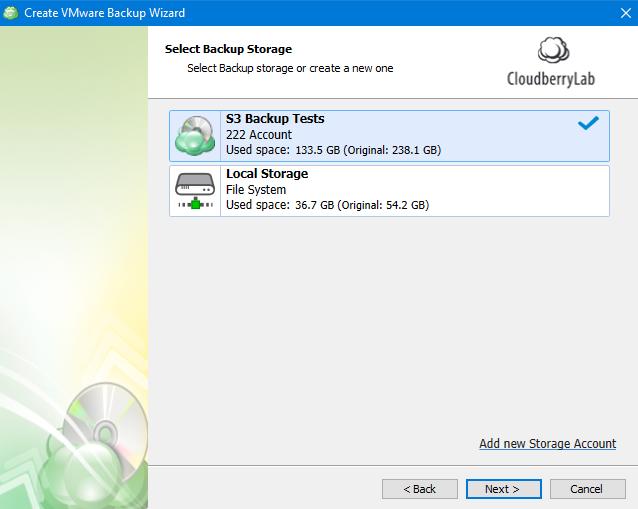 Selecting Storage in MSP360 Managed Backup Web Agent