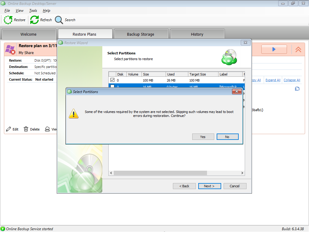 Selecting Partitions in MSP360 Managed Backup: Warning