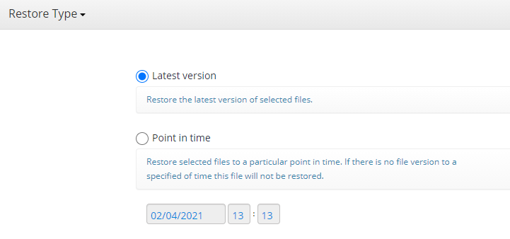 Choosing Version to Restore in MSP360 Managed Backup Console