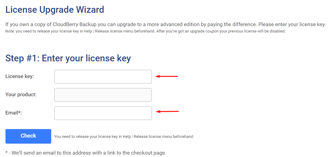 CloudBerry Backup License Upgrade Wizard