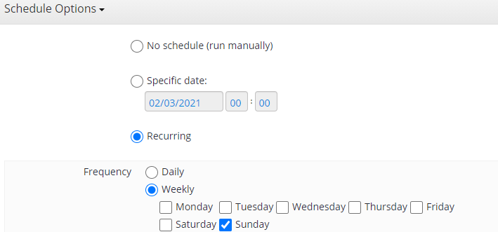 Full Backup Schedule Options in MSP360 Managed Backup Web Console