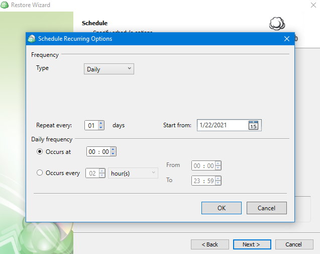 Schedule Interface in MSP360 Managed Backup Service Agent