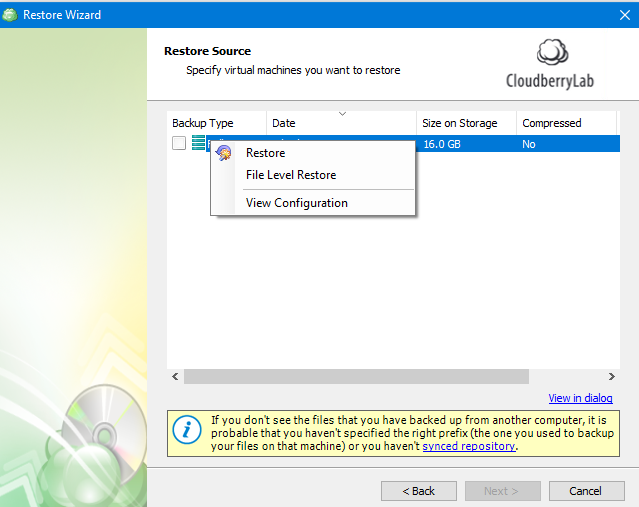 Manual Recovery in MSP360 Managed Backup Service Agent