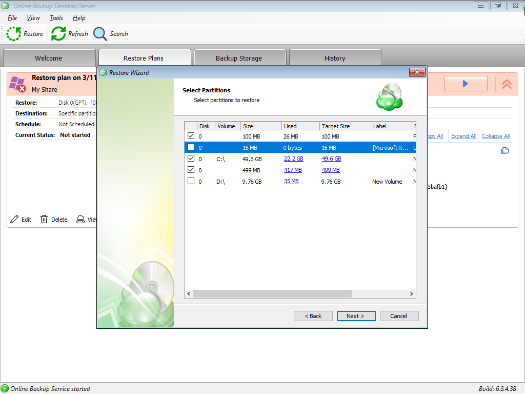 Selecting Partitions in MSP360 Managed Backup