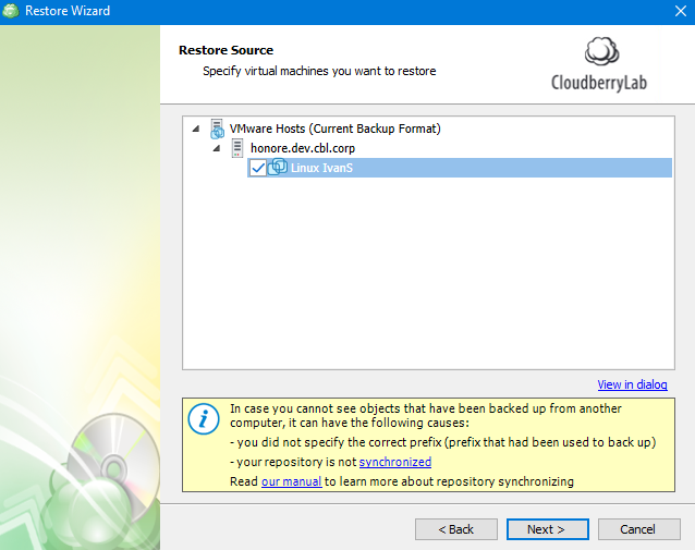 Selecting the Machine to Restore in MSP360 Managed Backup Service Agent