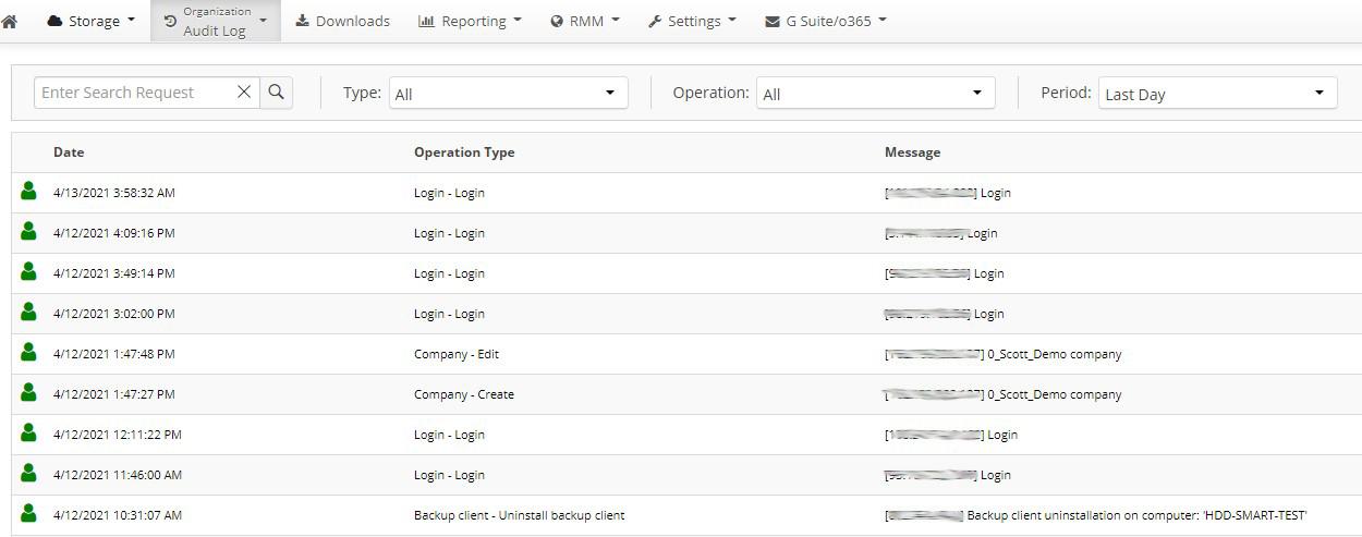 <SP360 Managed Backup Service: Audit Log