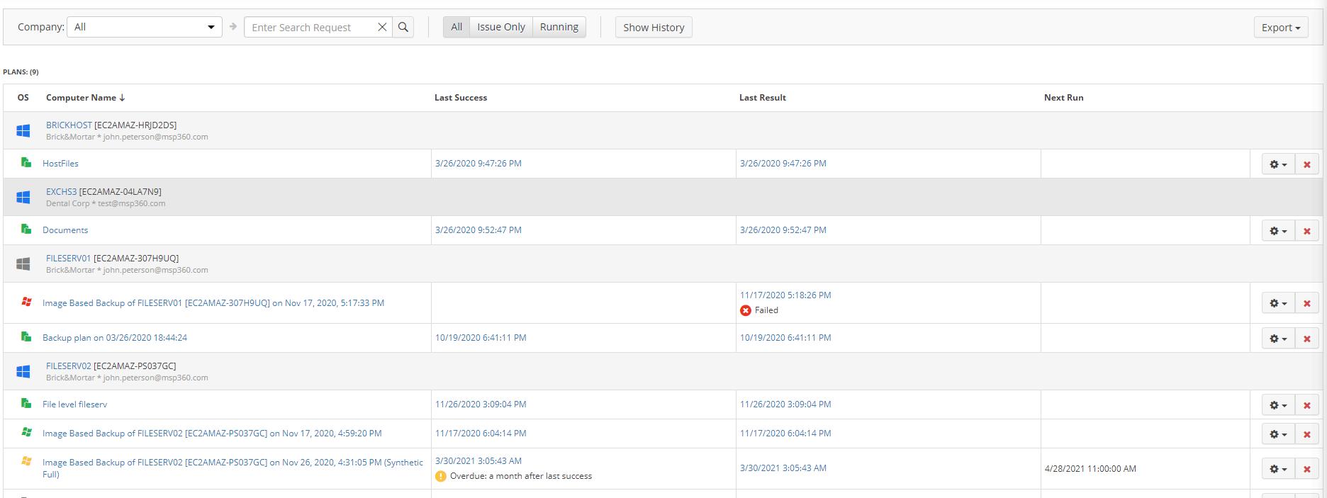 MSP360 Managed Backup: the Monitoring Tab